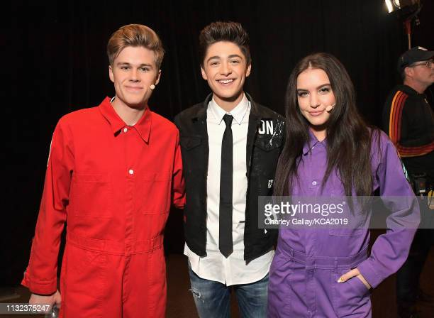 Owen Joyner Asher Angel and Lilimar attend Nickelodeon's 2019 Kids' Choice Awards at Galen Center on March 23 2019 in Los Angeles California