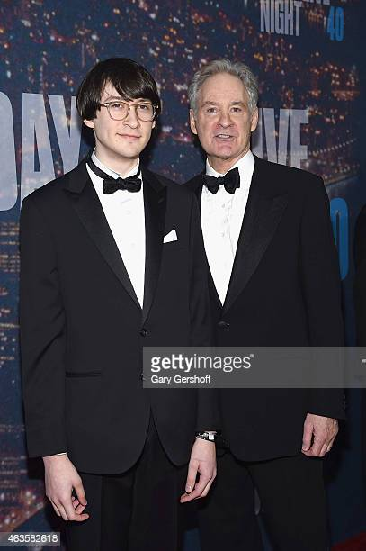 Owen Kline and Kevin Kline attend the SNL 40th Anniversary Celebration at Rockefeller Plaza on February 15 2015 in New York City