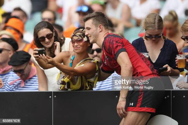 Owen Lane of Wales poses for selfies with the crowd after their final match in the 2017 HSBC Sydney Sevens at Allianz Stadium on February 5 2017 in...