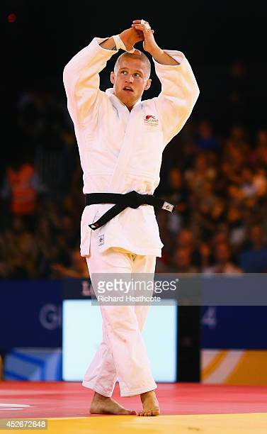 Owen Livesey of England celebrates as he defeats Tom Reed of England to win gold in the Men's 81kg judo final at SECC Precinct during day two of the...