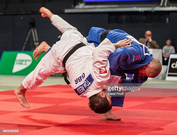 Owen Livesey of Great Britain throws Tom Reed also of Great Britain for a wazari to win the u81 gold medal during the 2015 London European Cup at...