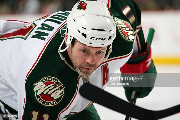 Owen Nolan of the Minnesota Wild readies himself for a faceoff against the Philadelphia Flyers on March 25 2010 at the Wachovia Center in...