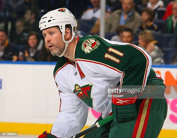 Owen Nolan of the Minnesota Wild skates against the Buffalo Sabres on March 12 2010 at HSBC Arena in Buffalo New York