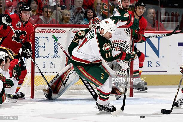 Owen Nolan of the Minnesota Wild skates against the Calgary Flames on March 3 2010 at Pengrowth Saddledome in Calgary Alberta Canada