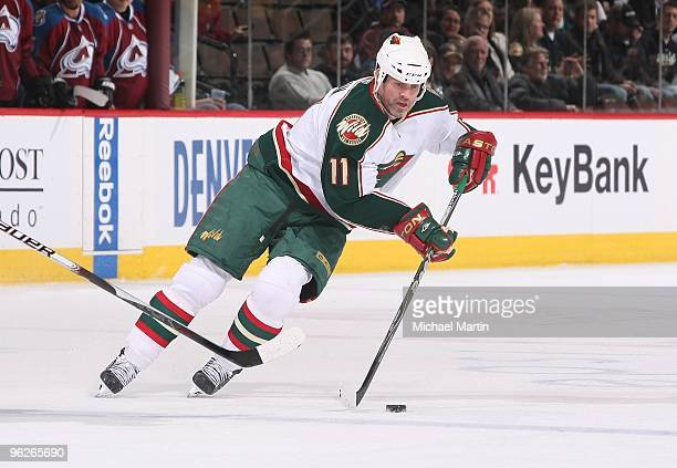 Owen Nolan of the Minnesota Wild skates against the Colorado Avalanche at the Pepsi Center on January 28 2010 in Denver Colorado The Wild defeated...