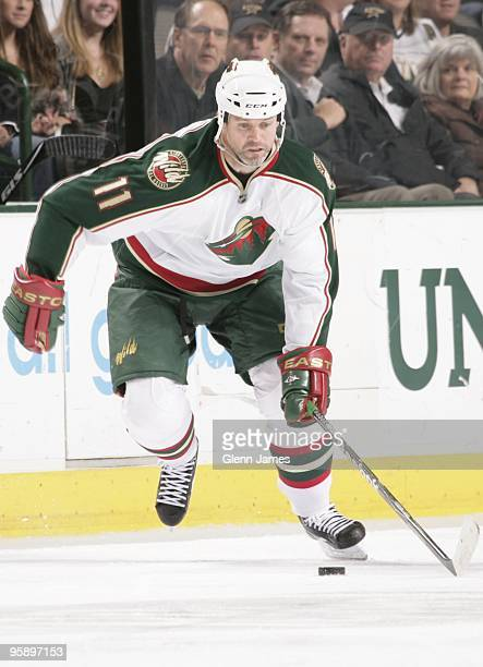 Owen Nolan of the Minnesota Wild skates against the Dallas Stars on January 18 2010 at the American Airlines Center in Dallas Texas