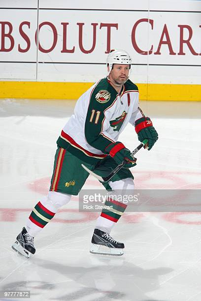 Owen Nolan of the Minnesota Wild skates during the game against the Buffalo Sabres at HSBC Arena on March 12 2010 in Buffalo New York