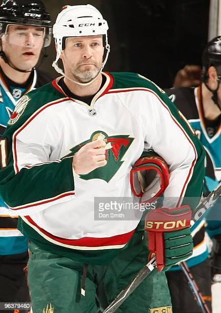 Owen Nolan of the Minnesota Wild waits for play to begin during an NHL game against the San Jose Sharks on January 30th 2010 at HP Pavilion at San...