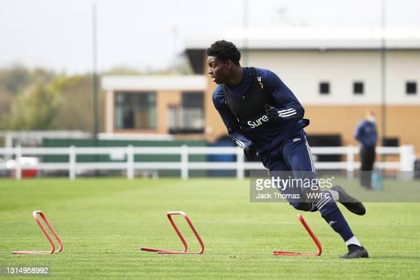 Owen Otasowie of Wolverhampton Wanderers in action during a Wolverhampton Wanderers Training Session at Sir Jack Hayward Training Ground on April 28,...