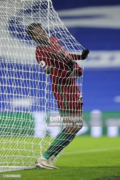 Owen Otasowie of Wolverhampton Wanderers reacts after missing a large chance on goal during the Premier League match between Brighton & Hove Albion...