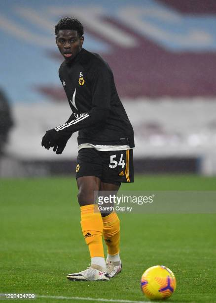 Owen Otasowie of Wolverhampton Wanderers warms up prior to the Premier League match between Burnley and Wolverhampton Wanderers at Turf Moor on...