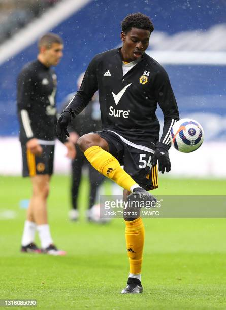 Owen Otasowie of Wolverhampton Wanderers warms up prior to the Premier League match between West Bromwich Albion and Wolverhampton Wanderers at The...