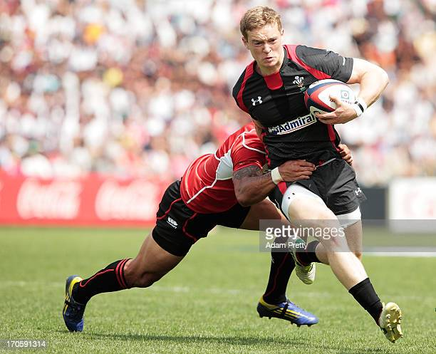 Owen P Williams of Wales makes a strong run during the international friendly between Japan and Wales at Prince Chichibu Stadium on June 15, 2013 in...