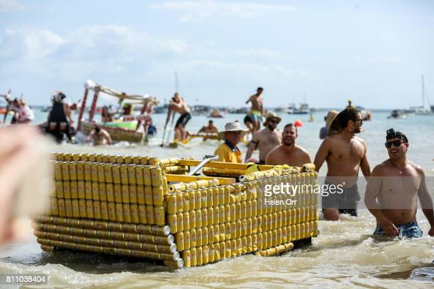 Owen Richards and Dan O'Driscoll during the Darwin Beer Can Regatta at Mindil Beach on July 9 2017 in Darwin Australia The annual event first started...