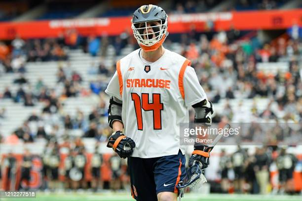 Owen Seebold of the Syracuse Orange reacts against the Army Black Knights during the second half at the Carrier Dome on February 23, 2020 in...