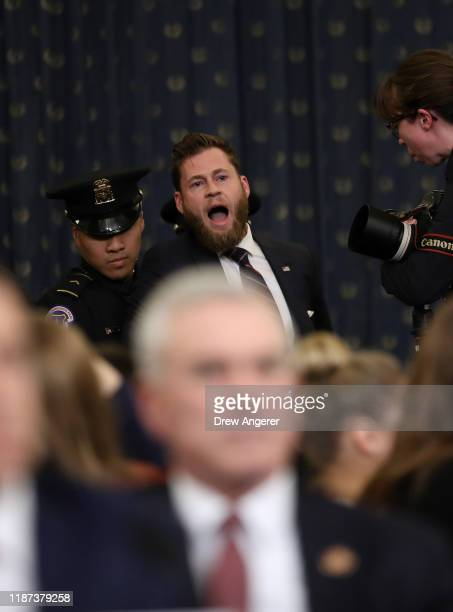 Owen Shroyer, an InfoWars reporter disrupts the opening statement by Chair Jerry Nadler prior to testimony by lawyers for the House Judiciary...