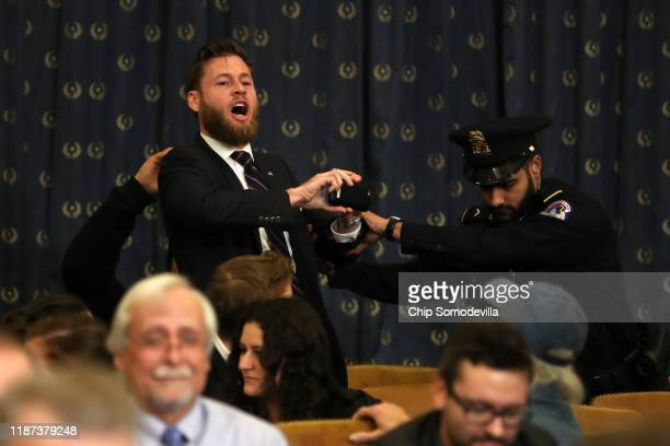Owen Shroyer, an InfoWars reporter disrupts the proceedings ahead of Lawyers for the House Judiciary Committee, Barry Berke representing the majority...