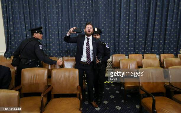 Owen Shroyer from InfoWars disrupts the open statement by House Judiciary Committee Chairman Jerrold Nadler prior to testimony by lawyers for the...