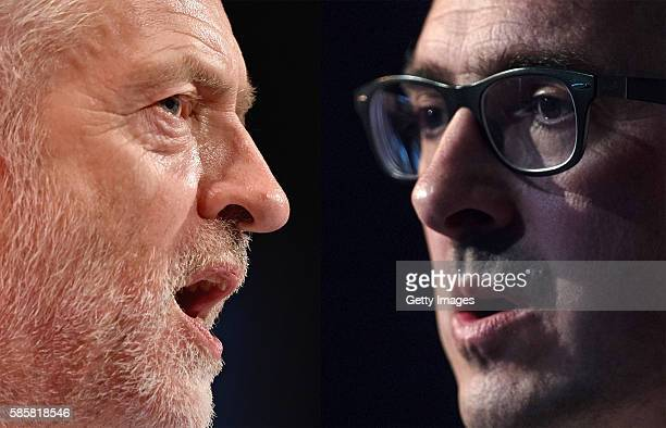 COMPOSITE OF TWO IMAGES Image numbers 490525158 and 585576440 In this composite image a comparison has been made between the two Labour Leadership...