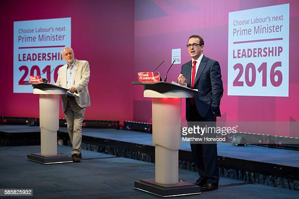 Owen Smith MP debates with Jeremy Corbyn MP at the first Labour leadership debate at the All Nations Centre on August 4 2016 in Cardiff Wales The...