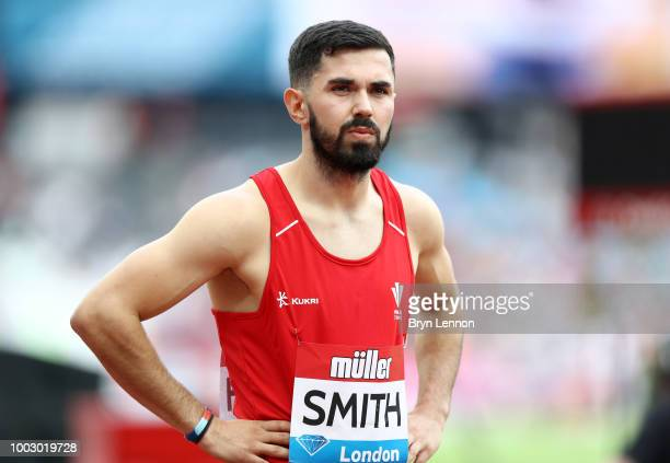Owen Smith of Great Britain looks on ahead of the 400m Men's National during Day One of the Muller Anniversary Games at London Stadium on July 21...