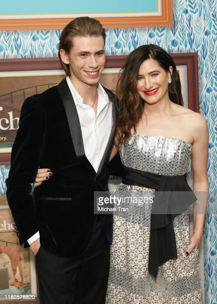 Owen Teague and Kathryn Hahn attend the Los Angeles premiere of HBO's Mrs Fletcher held at Avalon Hollywood on October 21 2019 in Los Angeles...