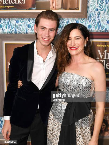 Owen Teague and Kathryn Hahn attend the Los Angeles Premiere of the new HBO Limited Series Mrs Fletcher at Avalon Hollywood on October 21 2019 in Los...
