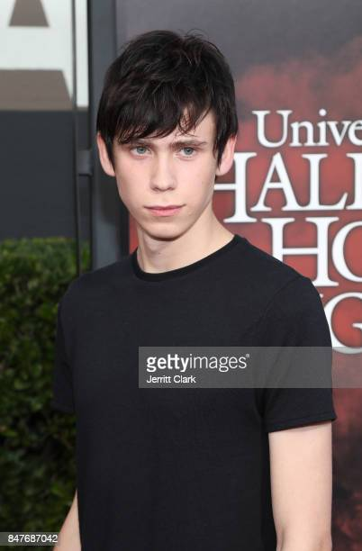 Owen Teague arrives at Universal Studios Halloween Horror Nights Opening Night at Universal Studios Hollywood on September 15 2017 in Universal City...