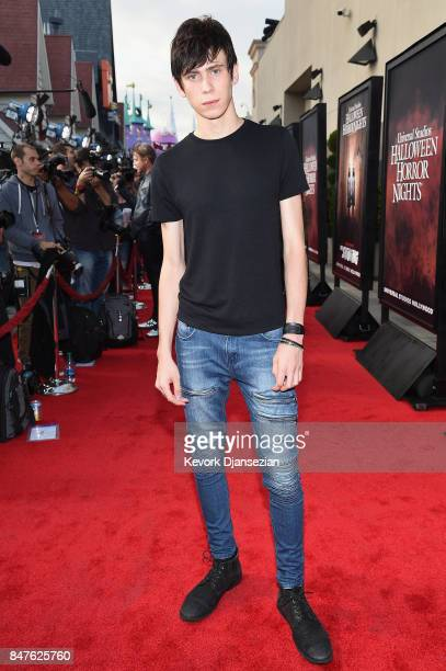 Owen Teague attends Halloween Horror Nights Opening Night Red Carpet at Universal Studios Hollywood on September 15 2017 in Universal City California