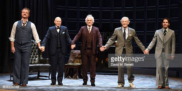 Owen Teale Patrick Stewart Sean Mathias Ian McKellen and Damien Moloney bow at the curtain call during the press night performance of No Man's Land...