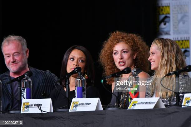 Owen Teale Valarie Pettiford Alex Kingston and Teresa Palmer speak onstage during the 'A Discovery of Witches' panel during ComicCon International...