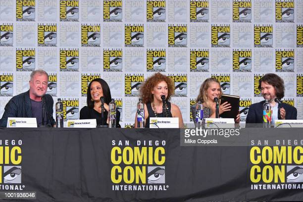 Owen Teale Valarie Pettiford Alex Kingston Teresa Palmer and Lachlan MacKinnon speak onstage during the 'A Discovery of Witches' panel during...