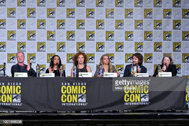 Owen Teale Valarie Pettiford Alex Kingston Teresa Palmer Lachlan MacKinnon and Deborah Harkness speak onstage during the 'A Discovery of Witches'...