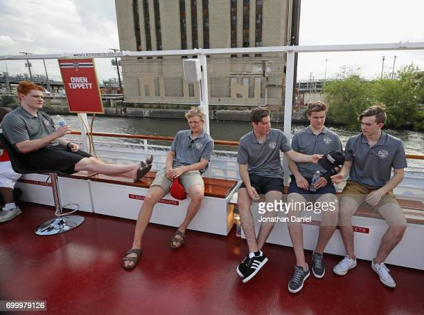 Owen Tippett Casey Mittelstadt Nolan Patrick Michael Rasmusen and Cody Glas enjoy the ride uring the 2017 NHL Draft top prospects media availabilty...