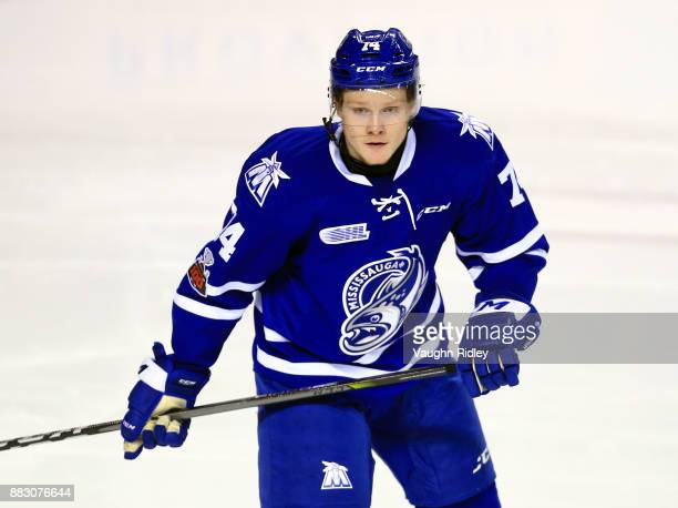 Owen Tippett of the Mississauga Steelheads skates during an OHL game against the Niagara IceDogs at the Meridian Centre on November 25 2017 in St...