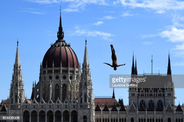 Owen Weymouth of Great Britain competes during the Men's High Diving on day seventeen of the Budapest 2017 FINA World Championships on July 30 2017...