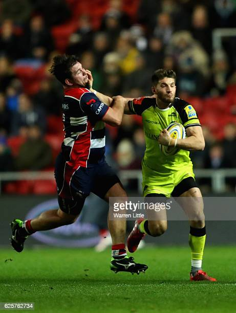 Owen Wiiliams of Leicester Tigers is tackled by Marc Jones of Bristol Rugby during the Aviva Premiership match between Bristol Rugby and Leicester...