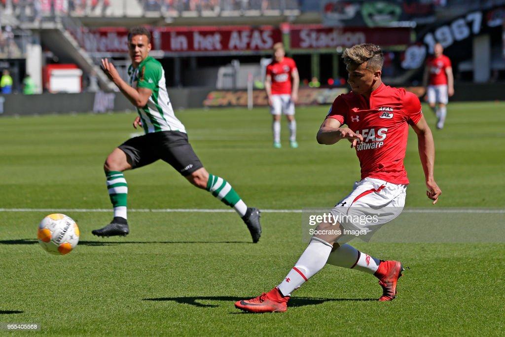 Owen Wijndal of AZ Alkmaar during the Dutch Eredivisie match between AZ Alkmaar v PEC Zwolle at the AFAS Stadium on May 6, 2018 in Alkmaar Netherlands