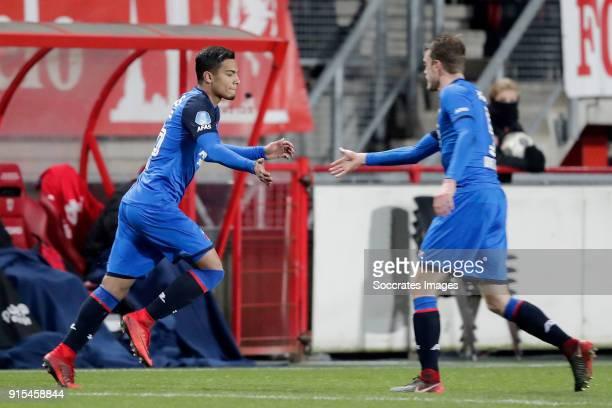 Owen Wijndal of AZ Alkmaar Thomas Ouwejan of AZ Alkmaar during the Dutch Eredivisie match between Fc Twente v AZ Alkmaar at the De Grolsch Veste on...