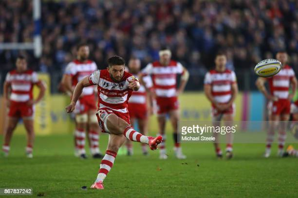 Owen Williams of Gloucester converts the winning penalty following a Ed Slater try during the Aviva Premiership match between Bath Rugby and...
