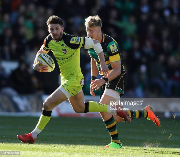 Owen Williams of Leicester breaks with the ball during the Aviva Premiership match between Northampton Saints and Leicester Tigers at Franklin's...