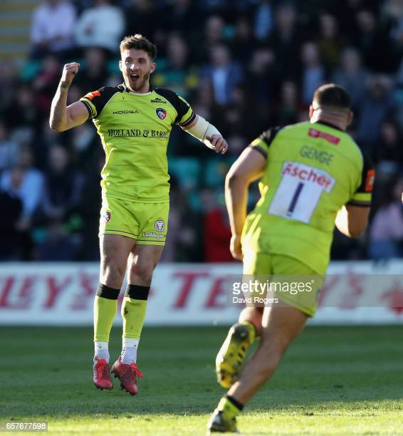 Owen Williams of Leicester celebrates after kicking a last minute match winning penalty during the Aviva Premiership match between Northampton Saints...