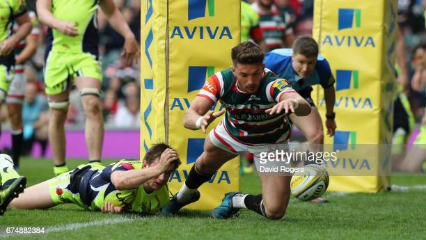 Owen Williams of Leicester dives over for their third try during the Aviva Premiership match between Leicester Tigers and Sale Sharks at Welford Road...