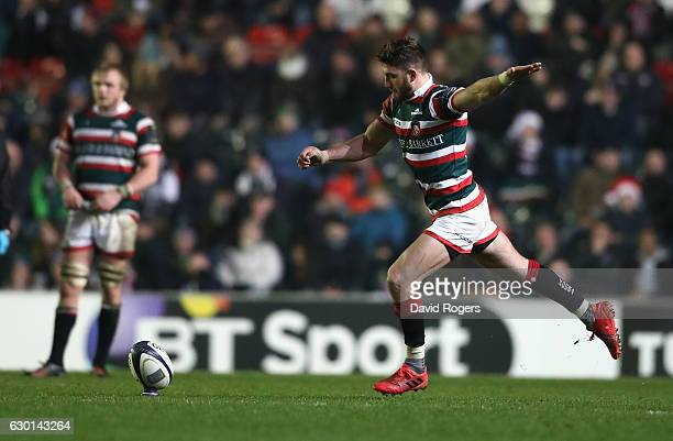 Owen Williams of Leicester kicks a long range last minute match winning penalty during the European Rugby Champions Cup match between Leicester...