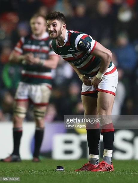Owen Williams of Leicester looks anxious as he kicks a long range last minute match winning penalty during the European Rugby Champions Cup match...