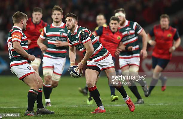 Owen Williams of Leicester passes the ball during the European Champions Cup match between Munster and Leicester Tigers at Thomond Park on December...