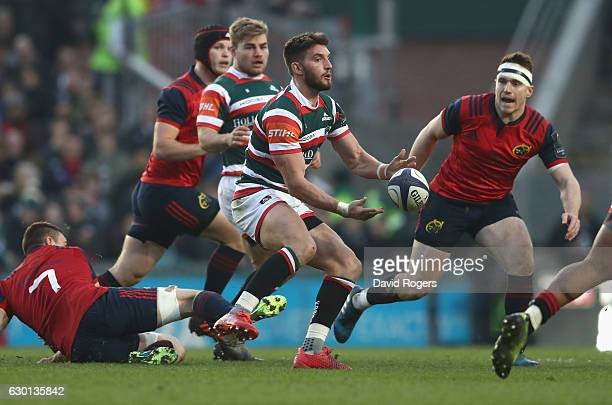 Owen Williams of Leicester passes the ball during the European Rugby Champions Cup match between Leicester Tigers and Munster at Welford Road on...