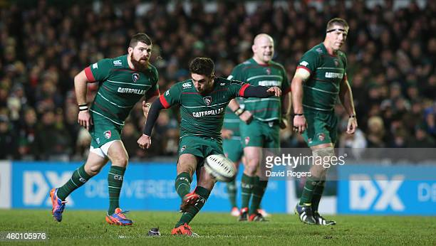 Owen Williams of Leicester scores with a last minute long range penalty during the European Rugby Champions Cup group 3 match between Leicester...