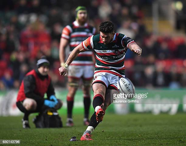 Owen Williams of Leicester Tigers in action during the European Rugby Champions Cup match between Leicester Tigers and Munster Rugby on December 17...