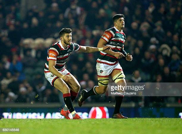 Owen Williams of Leicester Tigers kicks the matchwinning penalty during the European Rugby Champions Cup game between Leicester Tigers and Munster at...